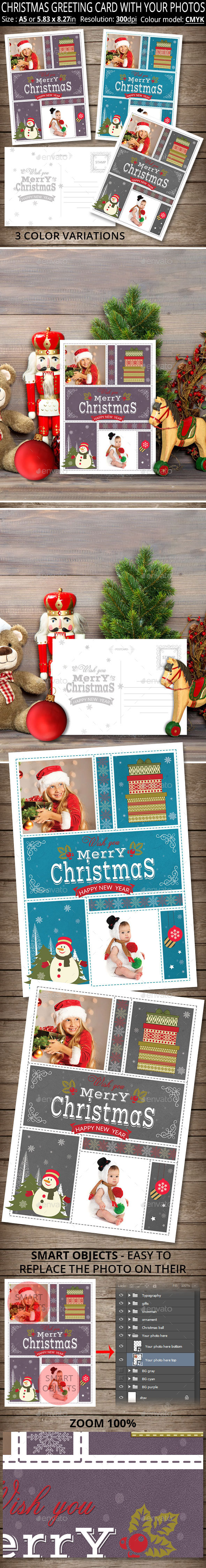Christmas Greeting Card With Your Photos - Holiday Greeting Cards