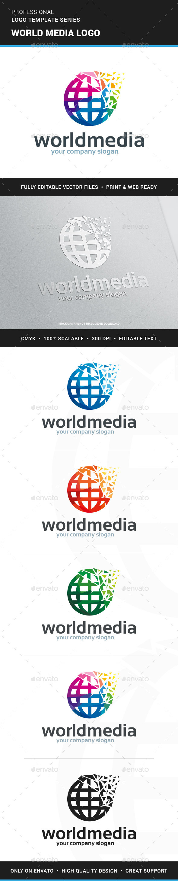 World Media Logo Template - Symbols Logo Templates