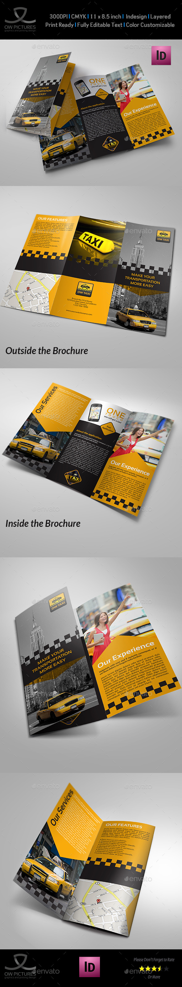 Taxi Service Tri-Fold Brochure Template - Brochures Print Templates