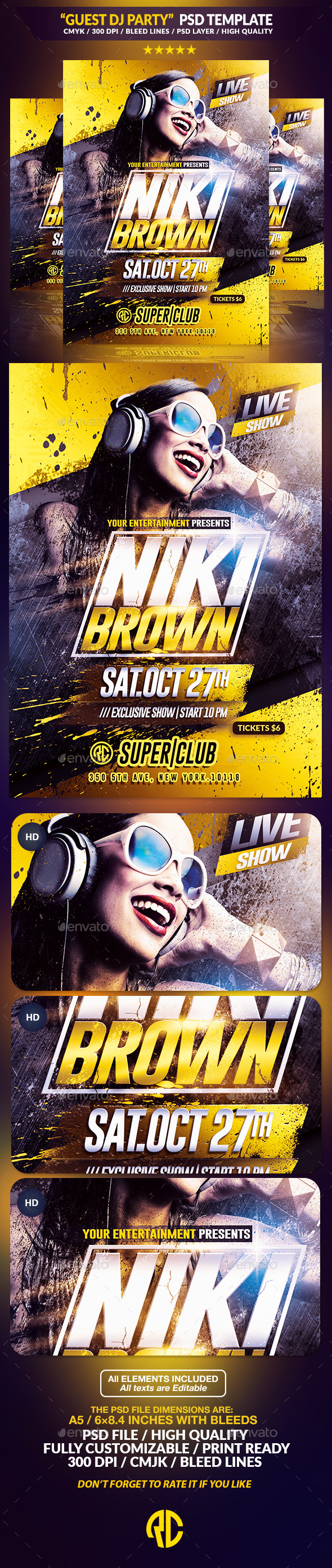 Live Dj Party | Psd Flyer Template - Clubs & Parties Events