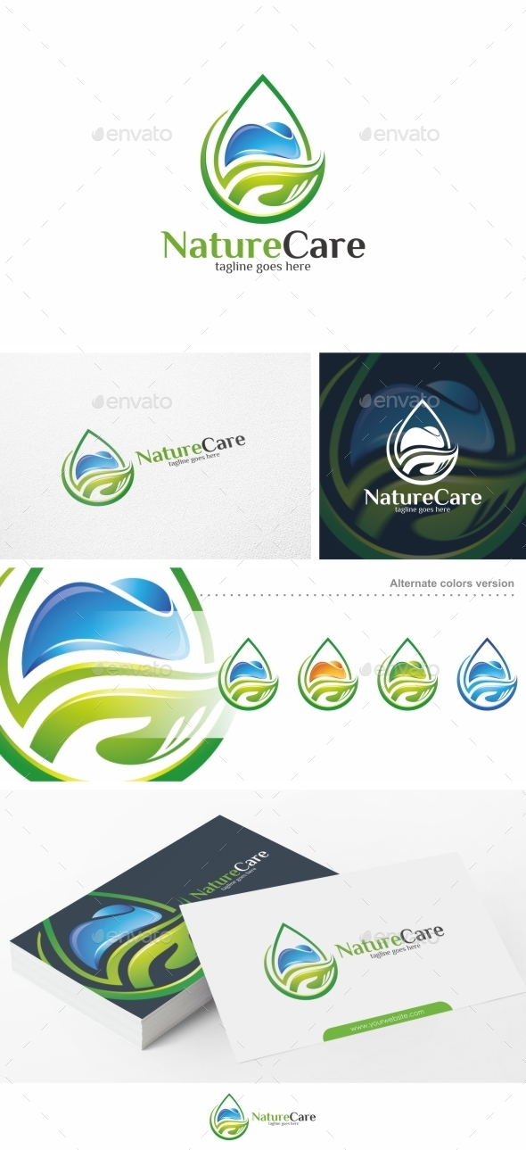 Nature Care Water Logo Template