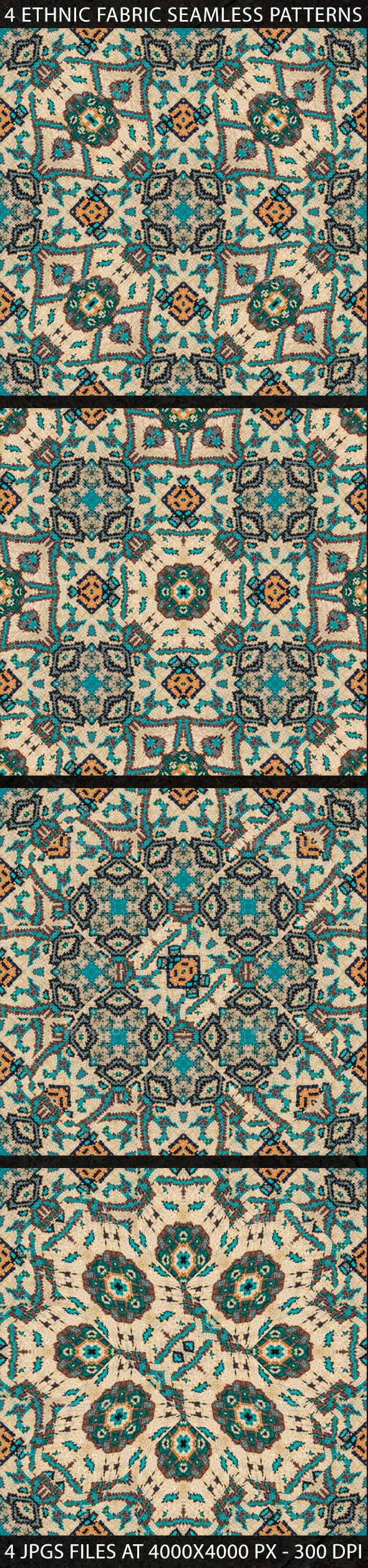 4 Ethnic Fabric Seamless Patterns - Patterns Decorative
