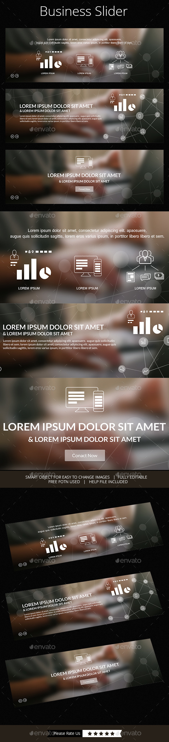 Simple 3 in 1 Business Slider - Sliders & Features Web Elements