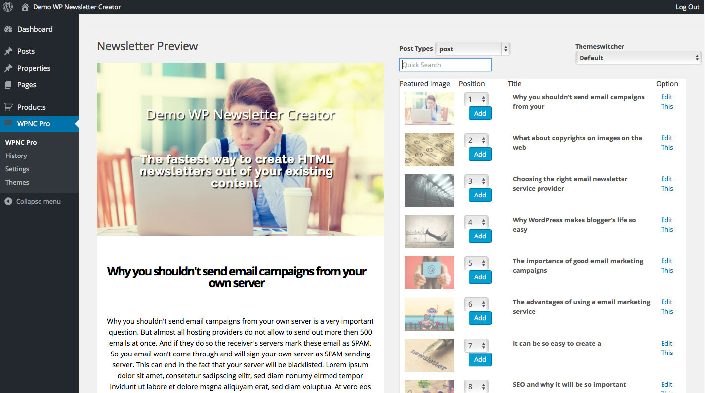 WP Newsletter Creator by INMEDIA-DESIGN | CodeCanyon