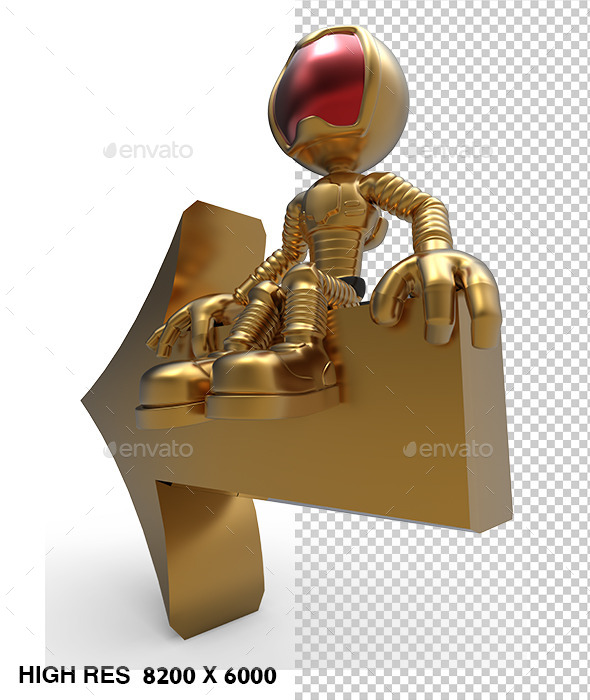 3D Astronaut Tell Left Direction Arrow