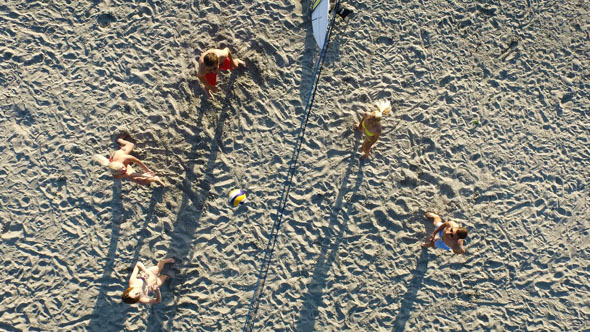 Aerial Drone Shot Of People Playing Volleyball By Gorodenkoffs