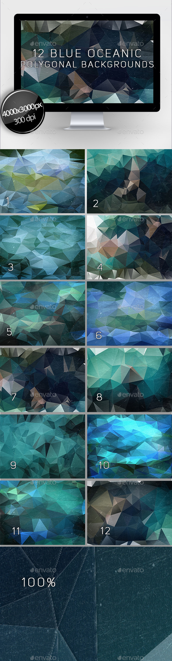 12 Blue Oceanic Polygonal Backgrounds - Abstract Backgrounds