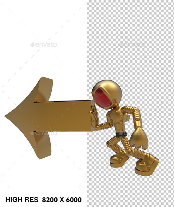 3D Golden Astronaut Push Left Direction Arrow - Characters 3D Renders