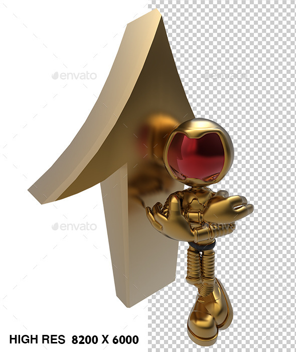3D Golden Astronaut Tell Up Direction Arrow