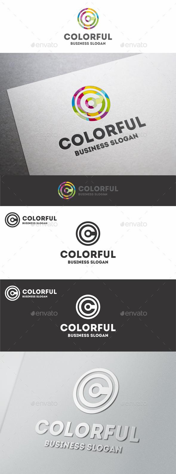 Creative Colorful Circles C Letter Logo
