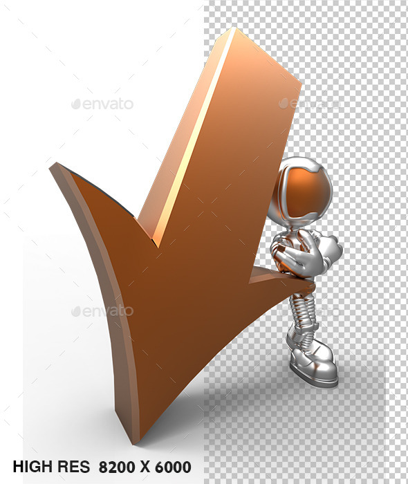 3D Silver Astronaut Tell Direction Arrow Down - Characters 3D Renders