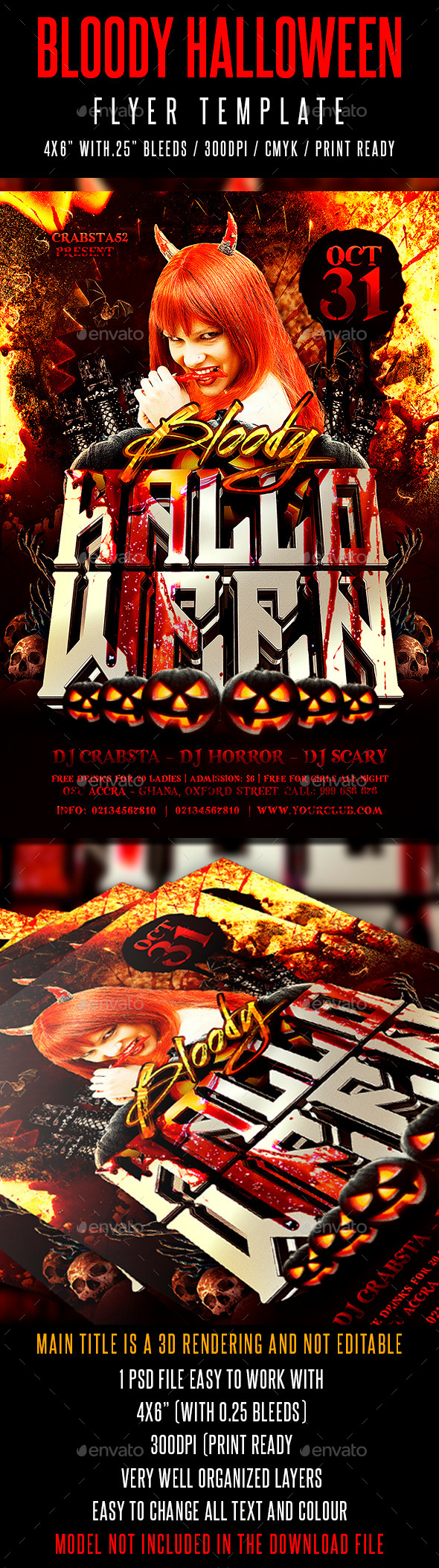 Bloody Halloween Flyer Template - Events Flyers