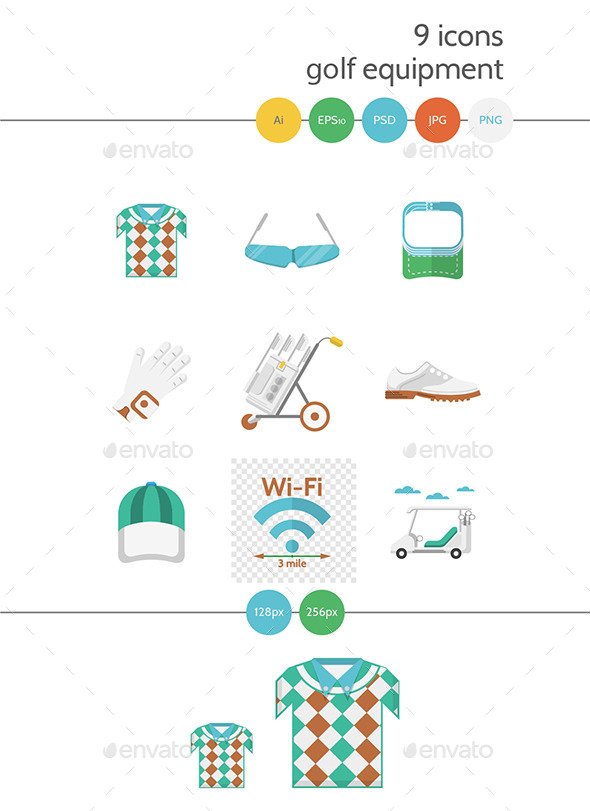 Flat Colored Icons for Golf - Man-made objects Objects
