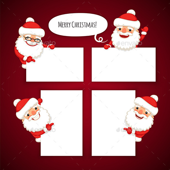 Set of Cartoon Santa Clauses Behind an Empty Sheet