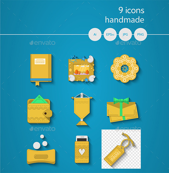 Handicraft Items Flat Icons Set - Man-made objects Objects