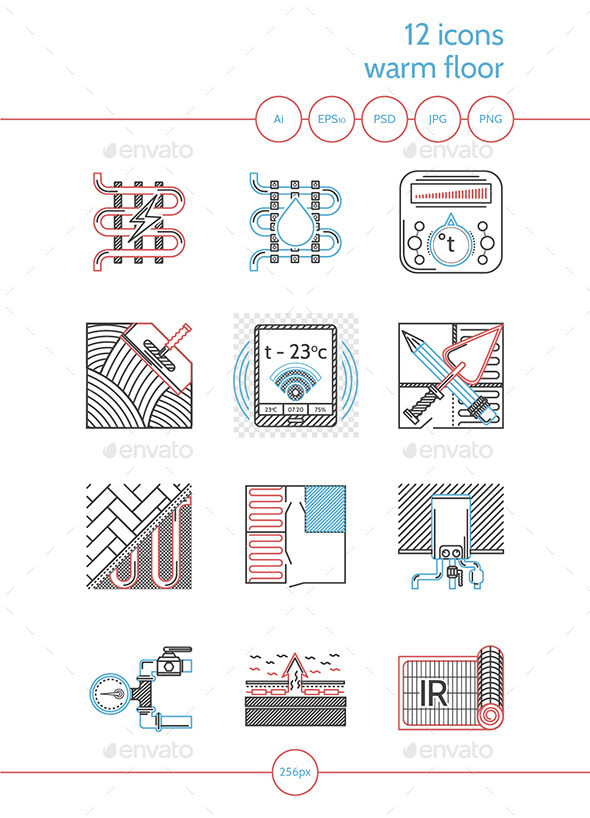 Flat Line Colored Icons for Heated Floor - Technology Icons