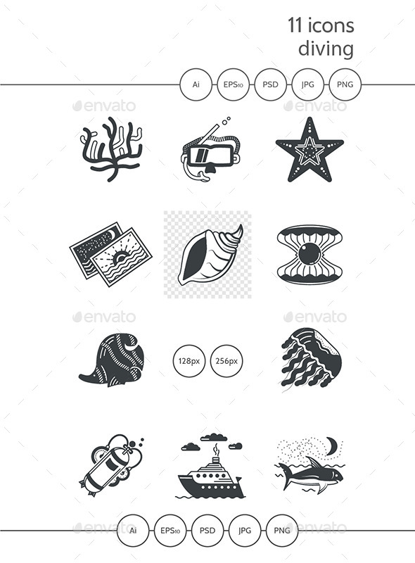 Marine Black Icons - Man-made objects Objects