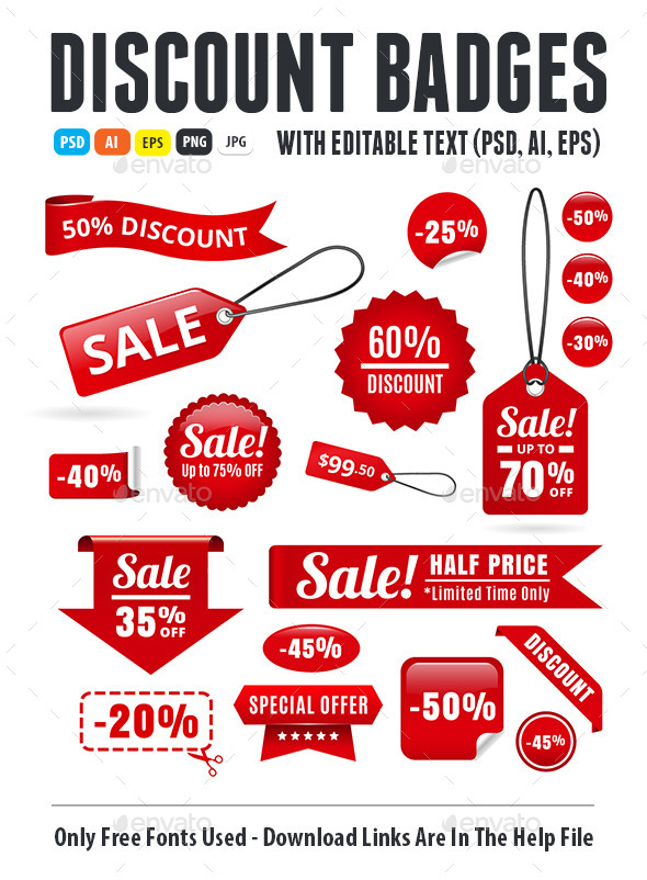 Sale Discount Tags, Badges And Ribbons - Miscellaneous Web Elements