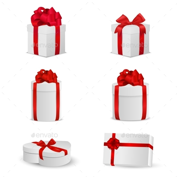 Set of White Gift Boxes with Red Bows and Ribbons
