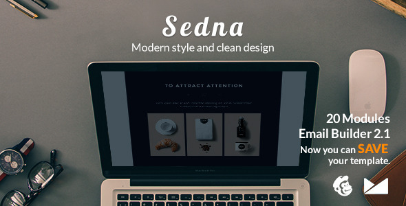 Sedna Email Template + Emailbuilder 2.1 - Newsletters Email Templates