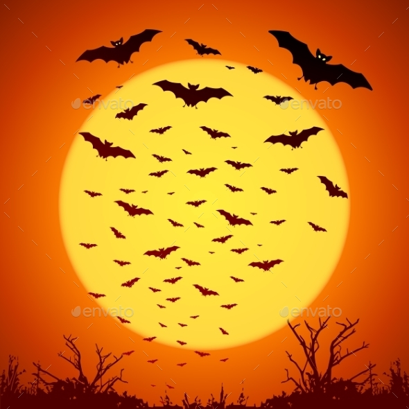 Black Bats Silhouettes on Big Yellow Moon