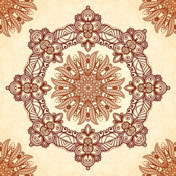 Vintage Mandala Seamless Pattern In Indian Mehndi - Patterns Decorative