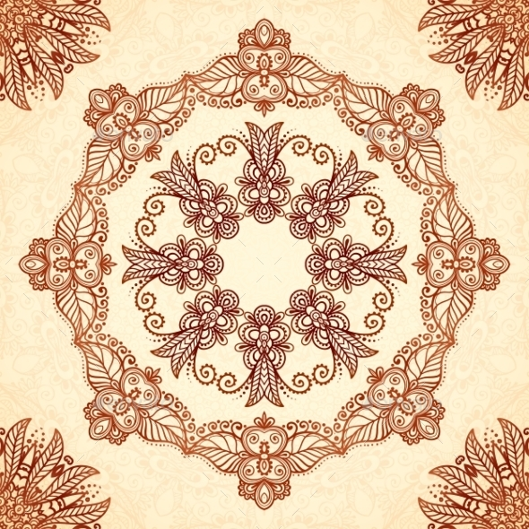 Vintage Mandala Seamless Pattern In Indian Mehndi