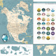 North America Map and Retro Colors - GraphicRiver Item for Sale