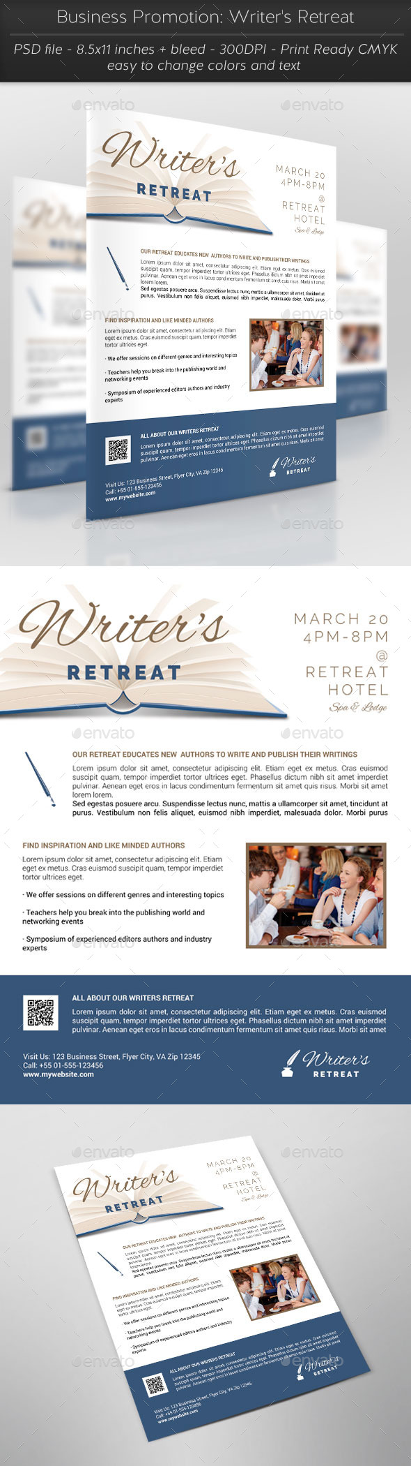 Business Promotion: Writer's Retreat - Flyers Print Templates