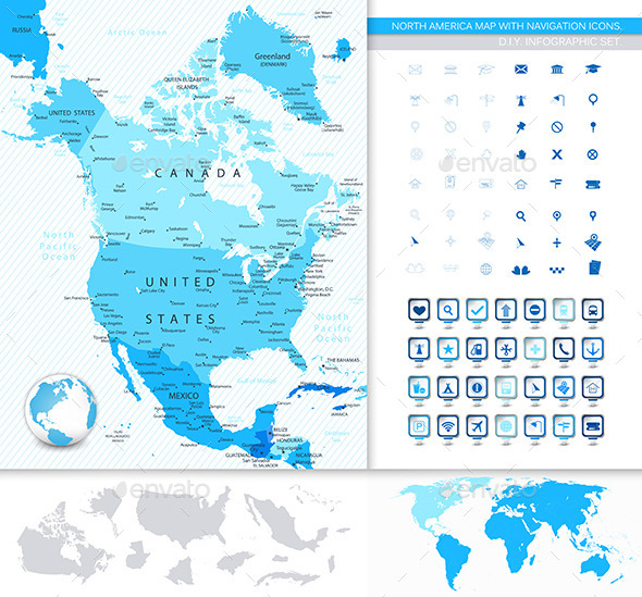 North America Map and Navigation Icons - Travel Conceptual