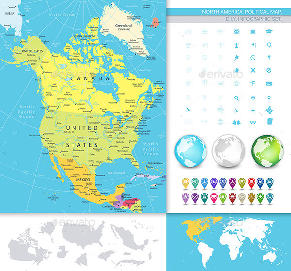 North America Detailed Political Map Image Set - Travel Conceptual
