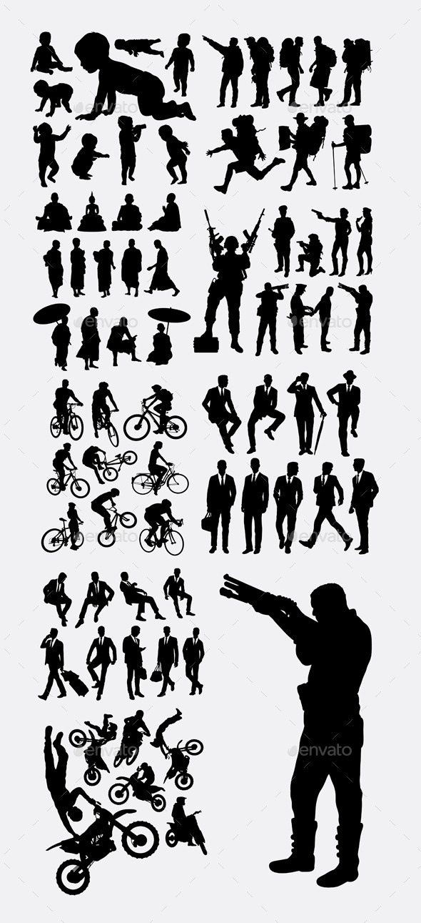 Profession and Activity Silhouettes - People Characters