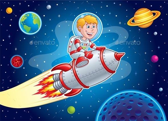 Rocket Kid Blasting Through Space - Travel Conceptual