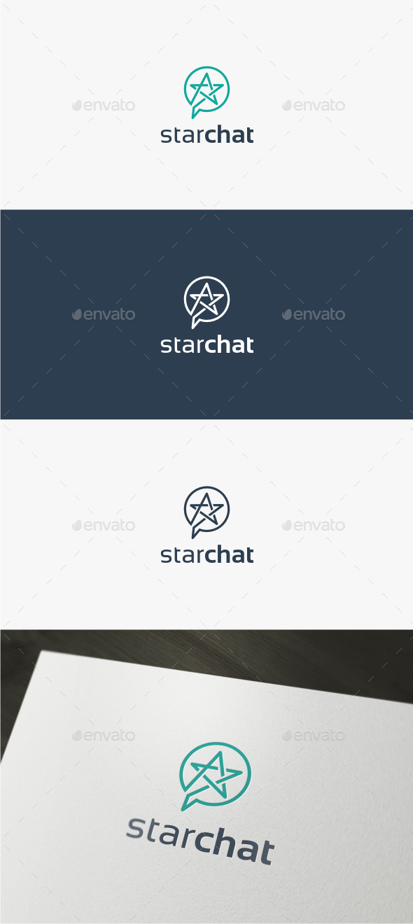 Star Chat Logo Template
