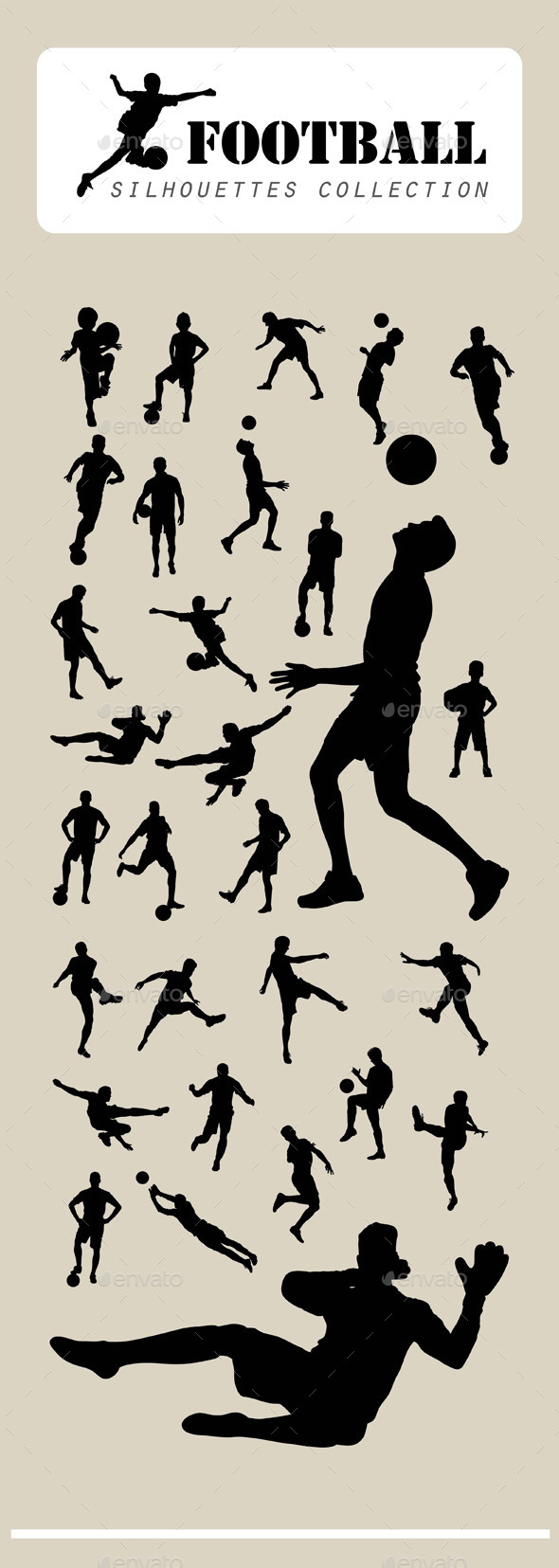 Football Player Silhouettes - Sports/Activity Conceptual