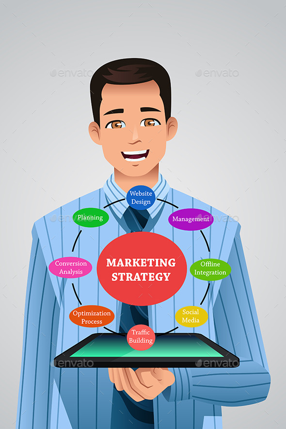 Businessman Showing Marketing Strategy - Concepts Business