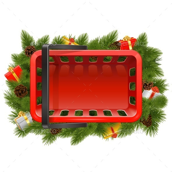 Vector Shopping Basket with Christmas Decorations - Christmas Seasons/Holidays