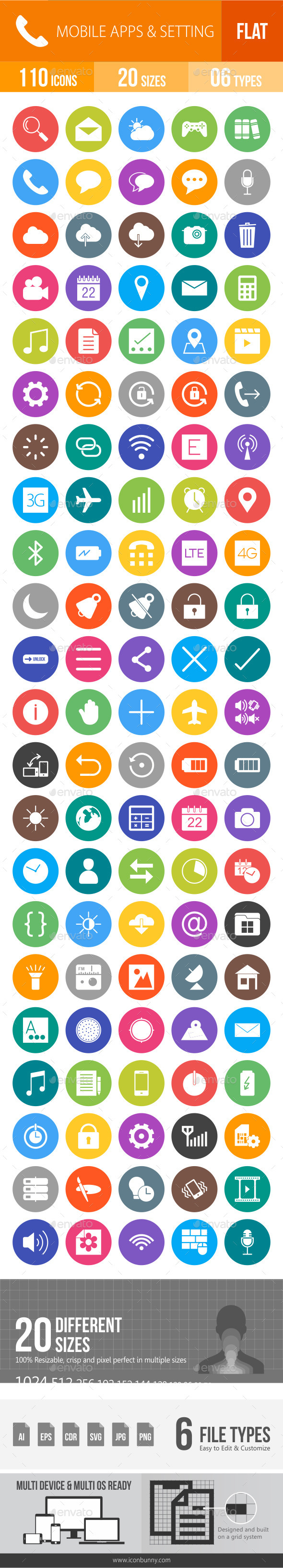 Mobile Apps & Settings Flat Round Icons - Icons