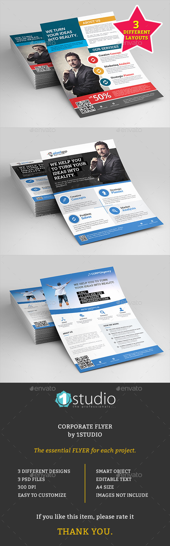 Corporate Flyers Bundle - 3 in 1 - Corporate Flyers