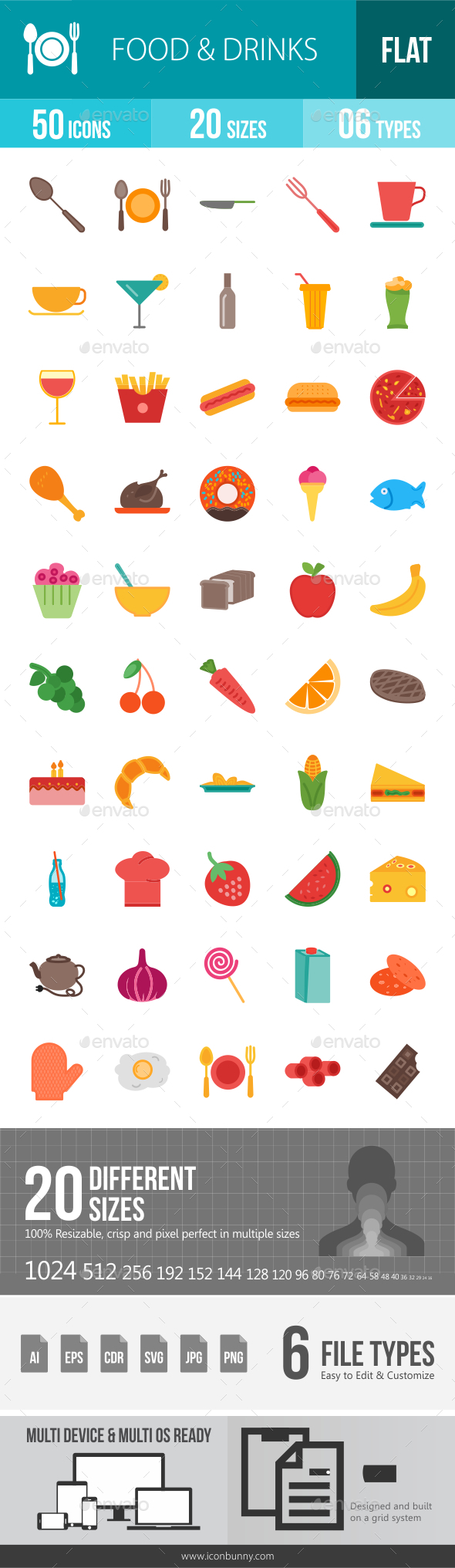 Food & Drinks Flat Multicolor Icons