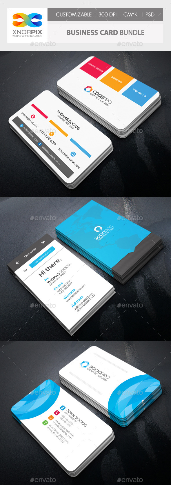 Business Card Bundle 3 in 1-Vol 61 - Corporate Business Cards