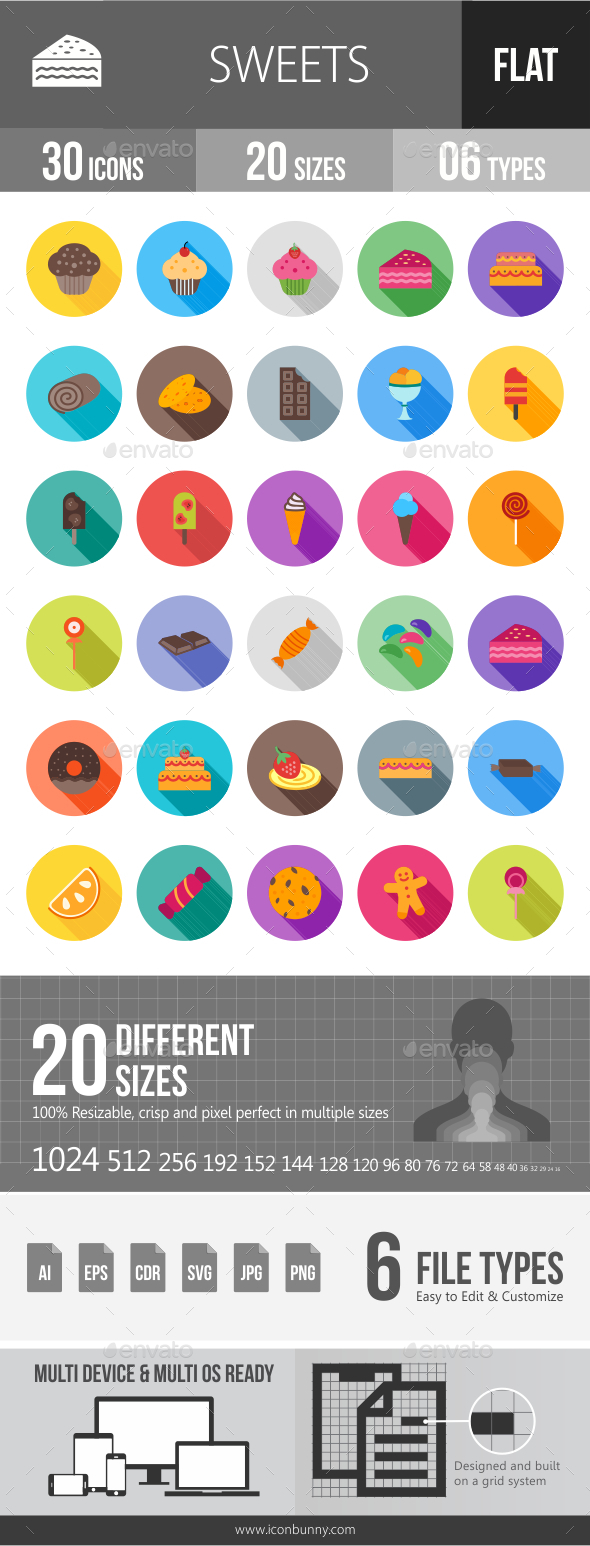 Sweets Flat Shadowed Icons - Icons