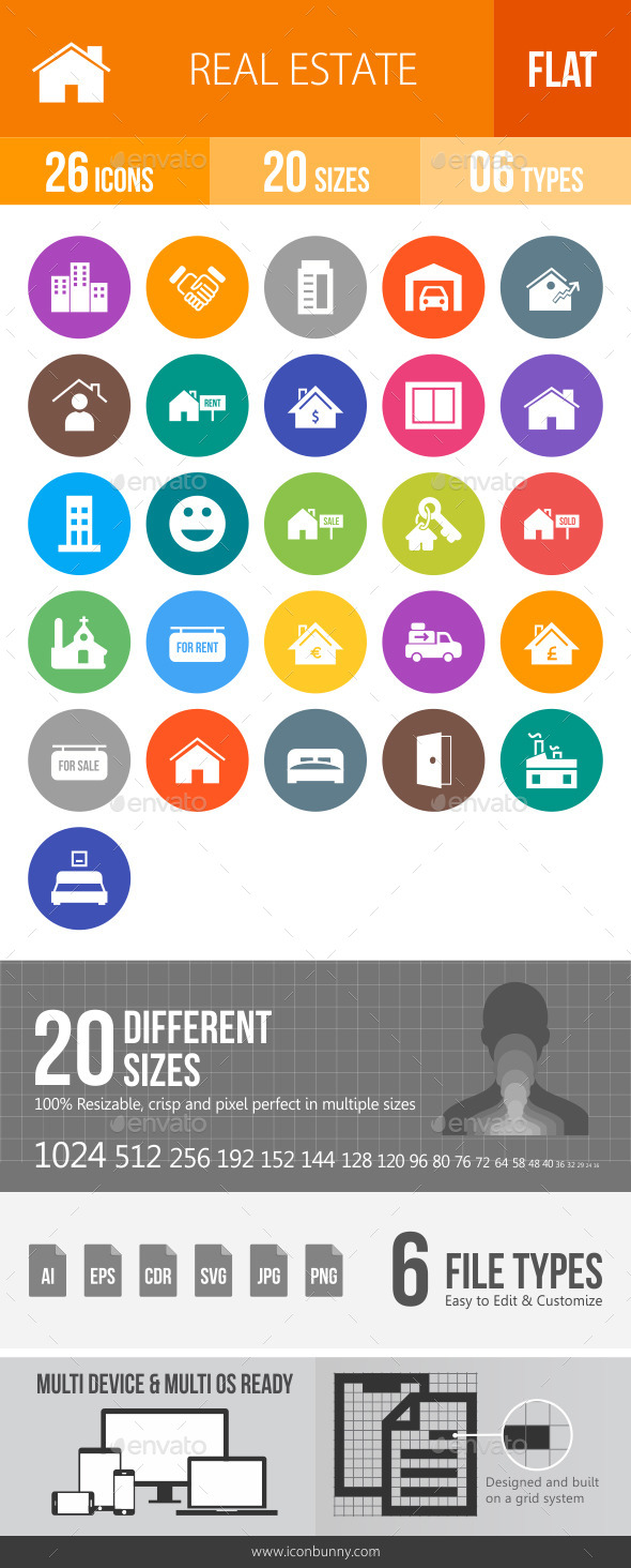 Real Estate Flat Round Icons - Icons