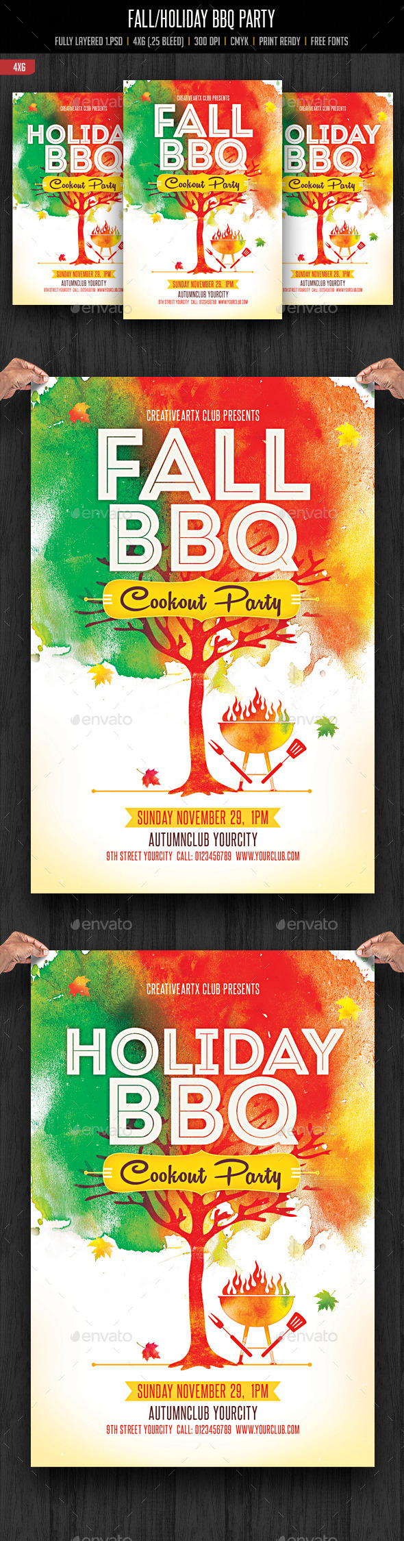Fall/Holiday BBQ Party Flyer - Clubs & Parties Events