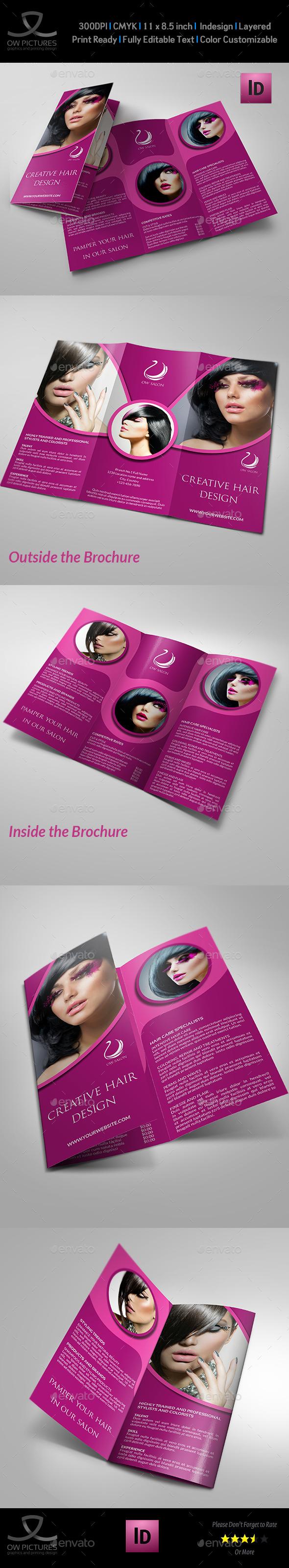 Hair Stylist & Salon Tri-Fold Brochure Vol.2 - Brochures Print Templates
