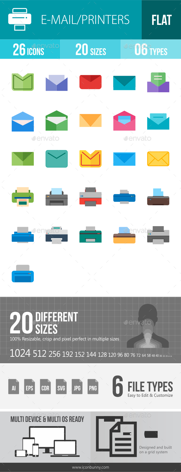 Email & Printer Technology Flat Multicolor Icons