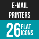 Email & Printer - Technology Flat Multicolor Icons