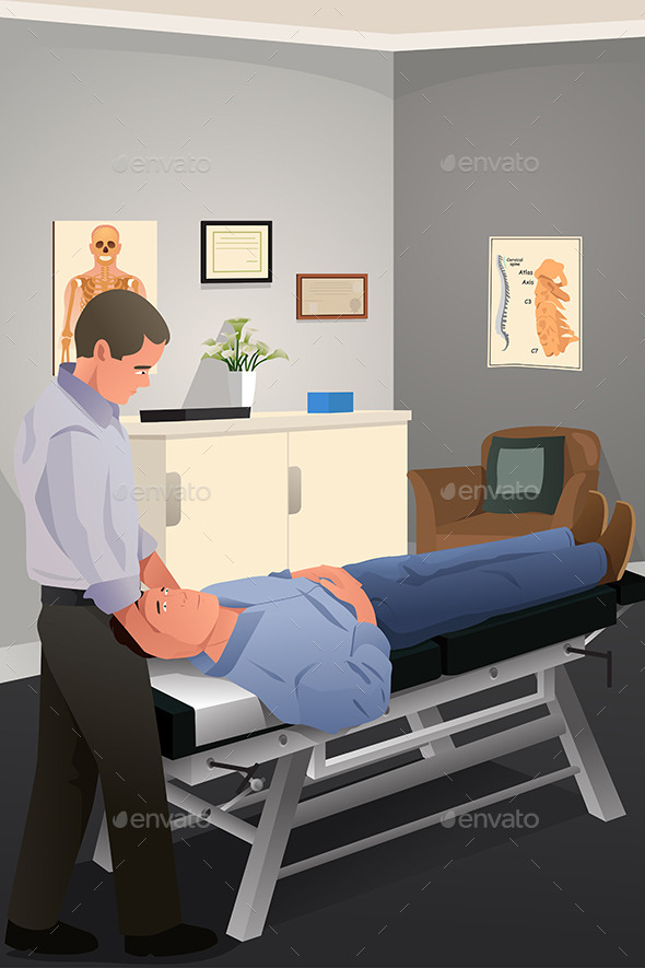 Male Chiropractor Treating a Patient - Health/Medicine Conceptual