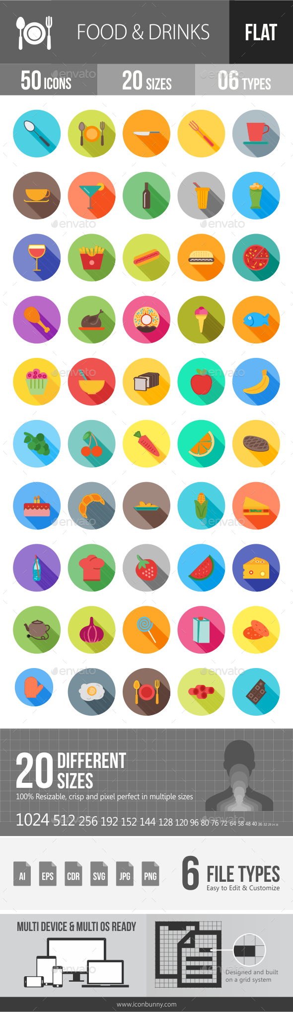 Food & Drinks Flat Shadowed Icons