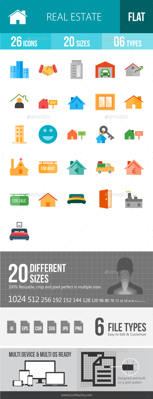 Real Estate Flat Multicolor Icons - Icons